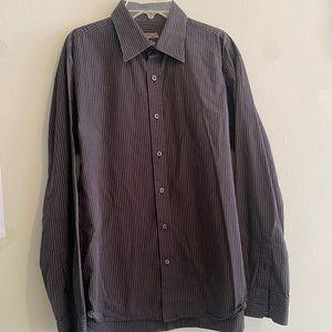 Grey Striped Michael Kors Dress Shirt
